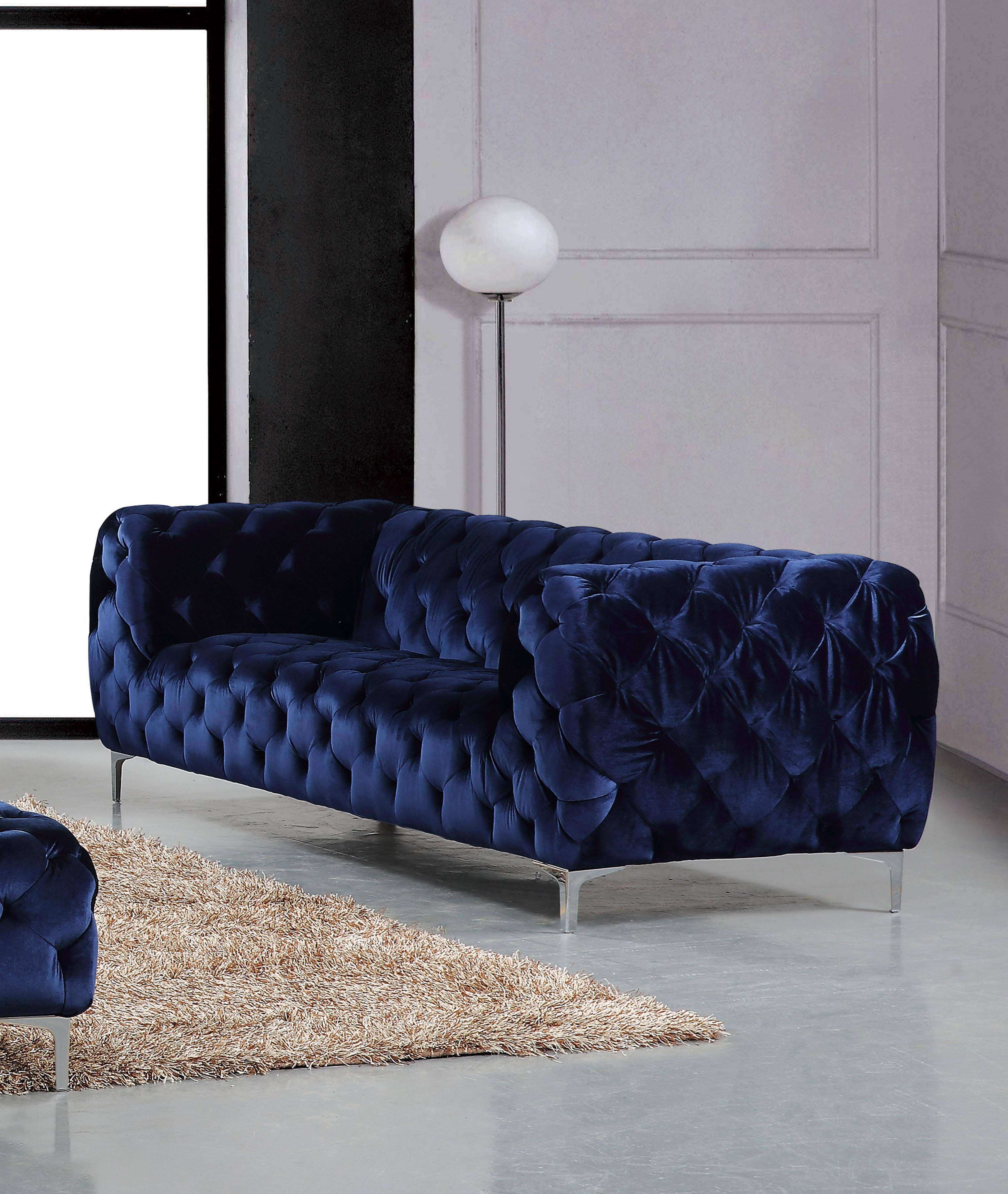 Current Mercer Foam Oversized Sofa Chairs In Meridian 646 Mercer Navy Tufted Sofa Contemporary Modern (646 Mercer (View 1 of 20)