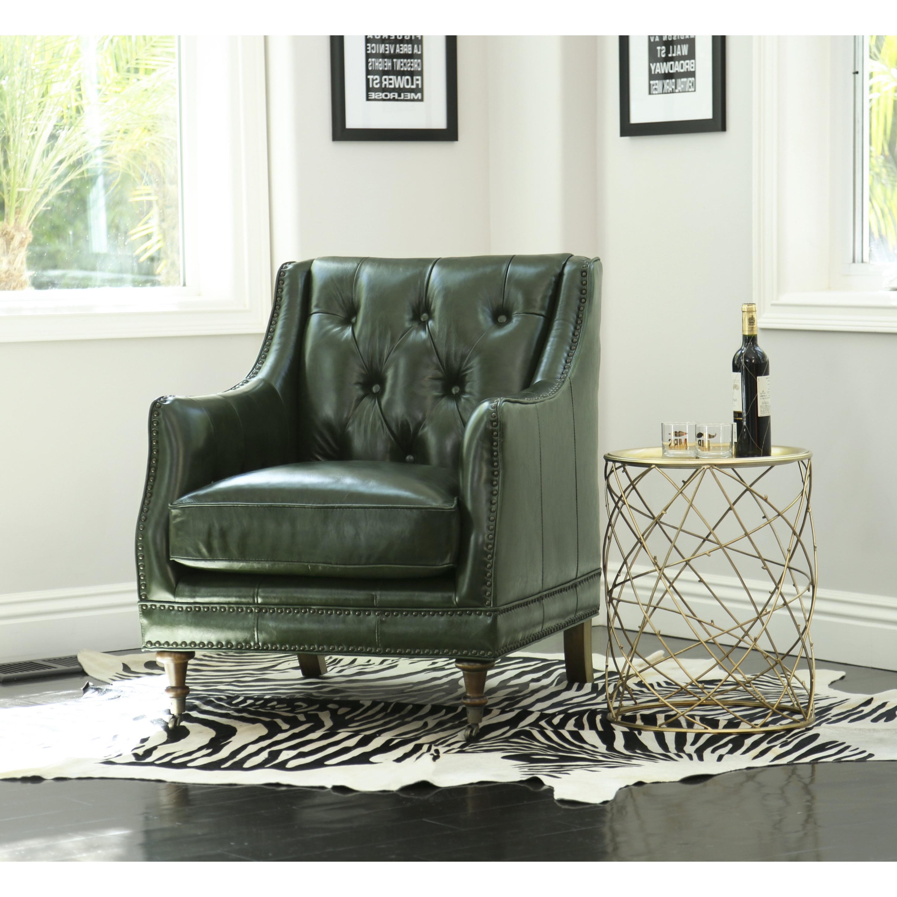 Current Shop Abbyson Nixon Emerald Green Top Grain Wax Leather Chair – On For Gina Blue Leather Sofa Chairs (View 6 of 20)