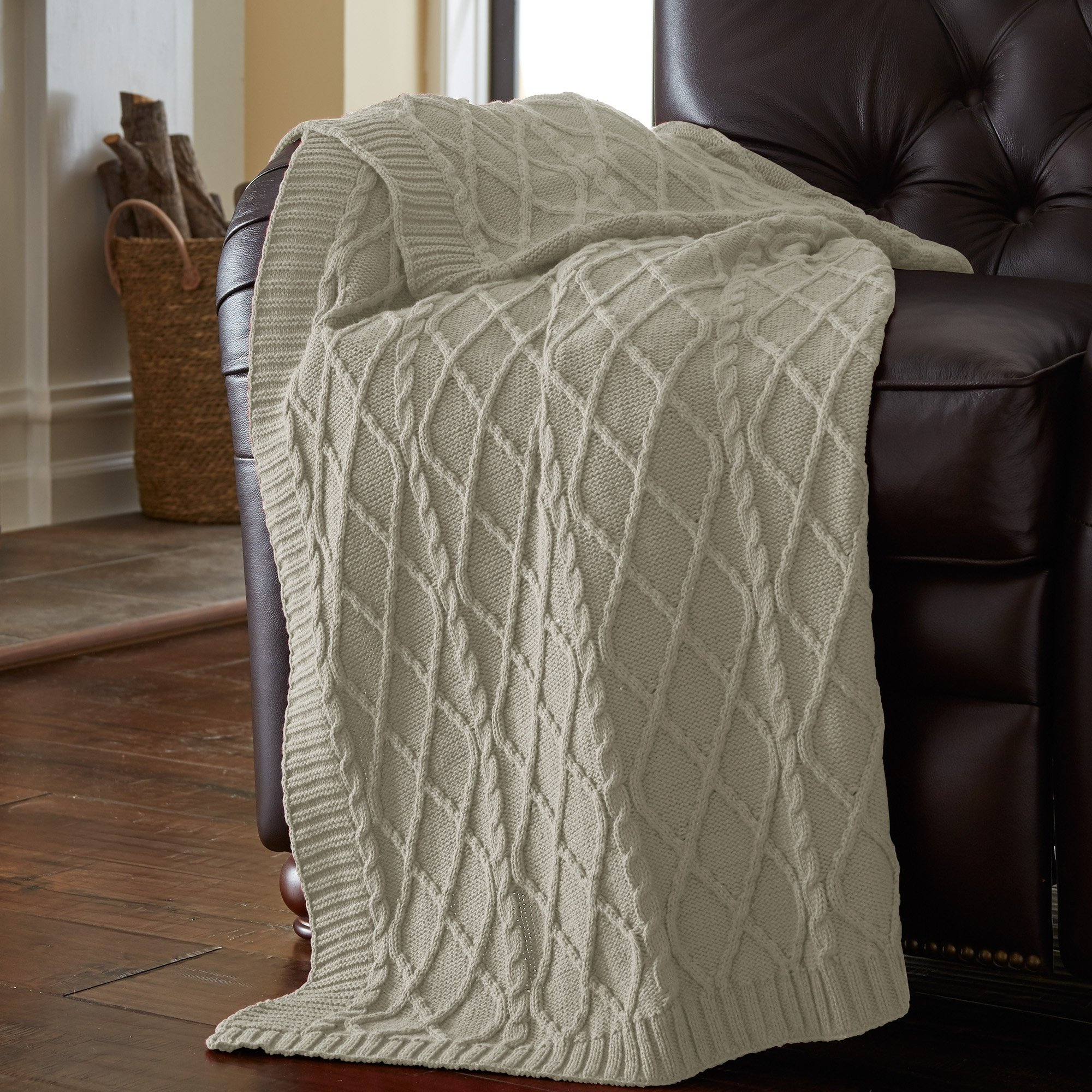 Current Shop Amrapur Overseas 100 Percent Cotton Oversized Cable Diamond Within Cotton Throws For Sofas And Chairs (View 19 of 20)
