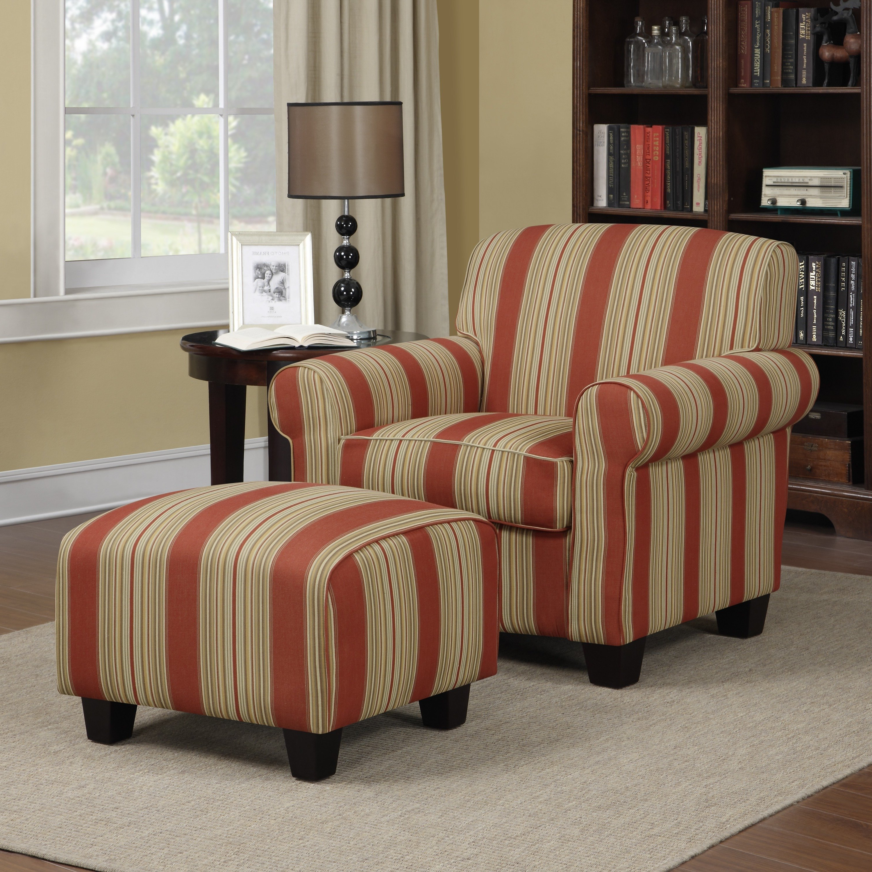 Current Shop Handy Living Mira Red Stripe Arm Chair And Ottoman – Free For Patterson Ii Arm Sofa Chairs (Gallery 13 of 20)