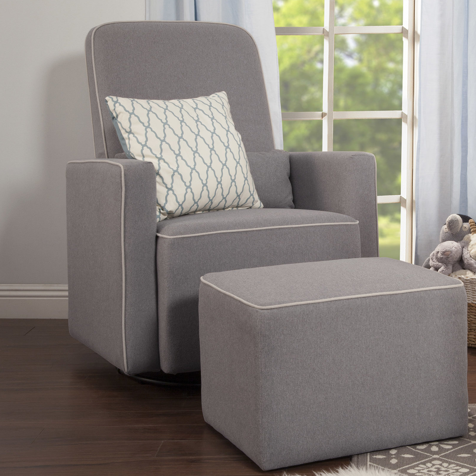 Davinci Olive Swivel Glider And Ottoman & Reviews (View 3 of 20)