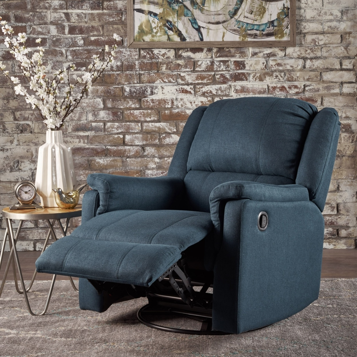 Decker Ii Fabric Swivel Glider Recliners For Most Current Jemma Tufted Fabric Swivel Gliding Recliner Chair In Living Room (View 4 of 20)