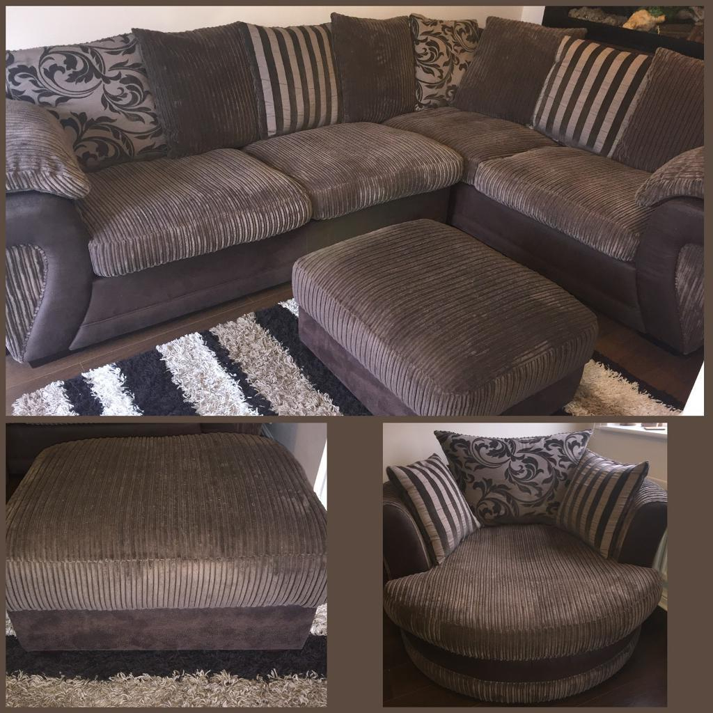 Dfs Large Corner Sofa Swivel Chair And Storage Stool (Gallery 11 of 20)