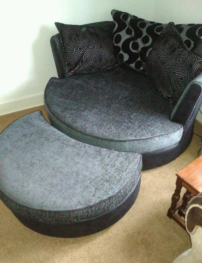 Dfs Shannon Cuddler Swivel Chair With Footstall In Charcoal (View 7 of 20)