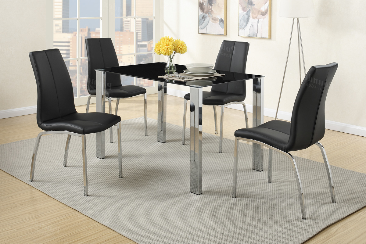 Dining Table With Sofa Chairs Pertaining To Well Known Black Metal Dining Table And Chair Set – Steal A Sofa Furniture (View 10 of 20)