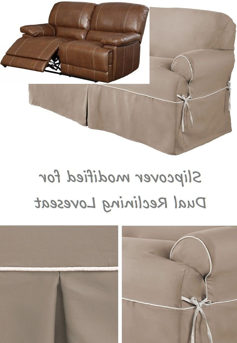 Dual Reclining Loveseat Slipcover T Cushion Twill Contrast Taupe Within Well Known Slipcovers For Chairs And Sofas (View 6 of 20)
