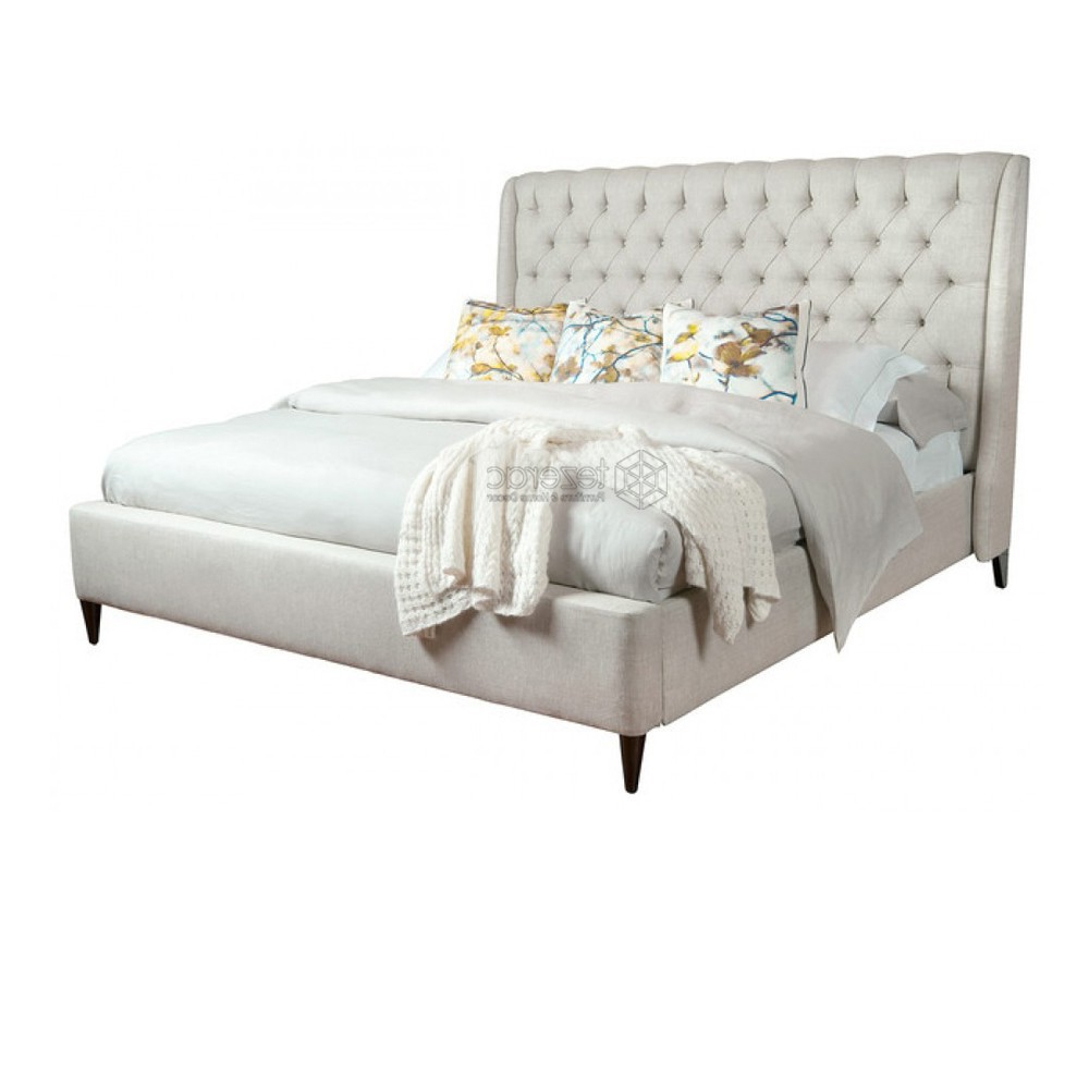 Escondido Sofa Chairs With Regard To Fashionable Buy Escondido Upholstered Soild Wood Double Bed In Beige Color (View 9 of 20)