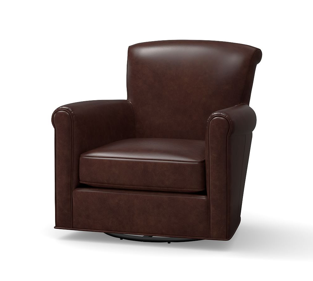 Espresso Leather Swivel Chairs In 2018 Irving Leather Swivel Rocker, Polyester Wrapped Cushions, Chestnut (View 4 of 20)