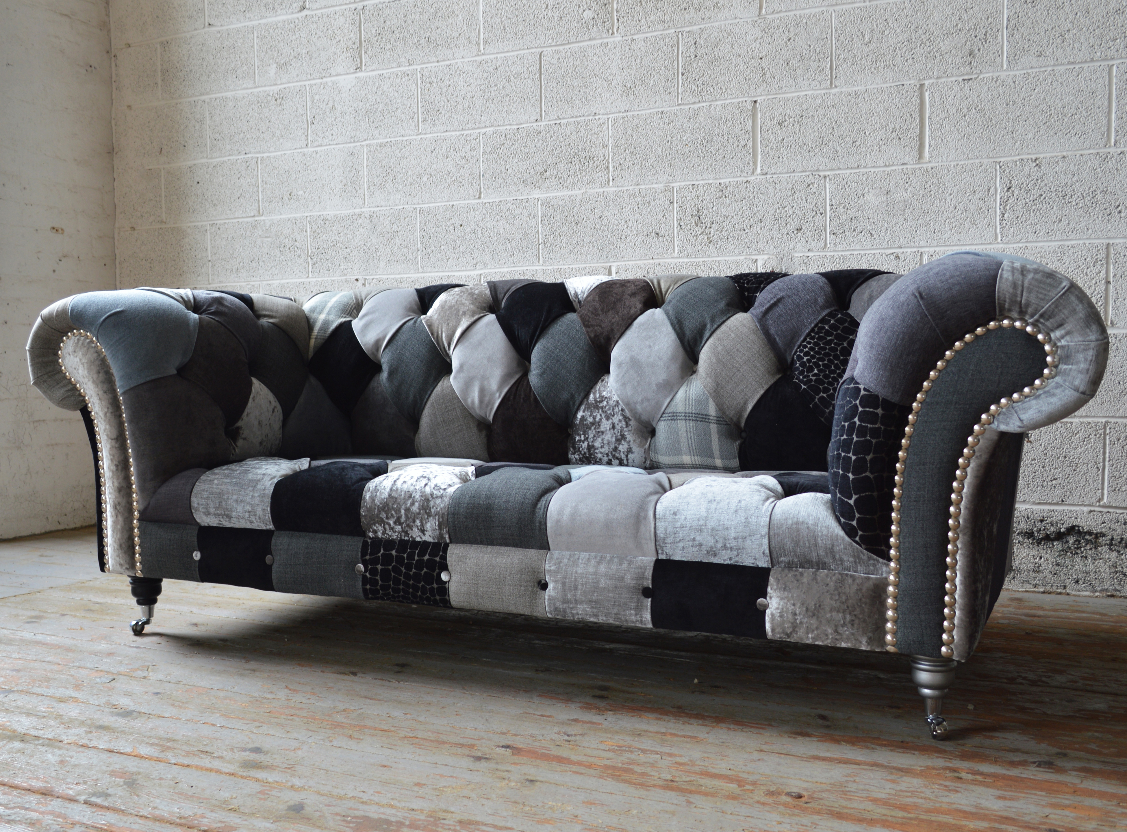 Famous Chesterfield Sofa And Chairs In Brighton Patchwork Chesterfield Sofa (View 7 of 20)