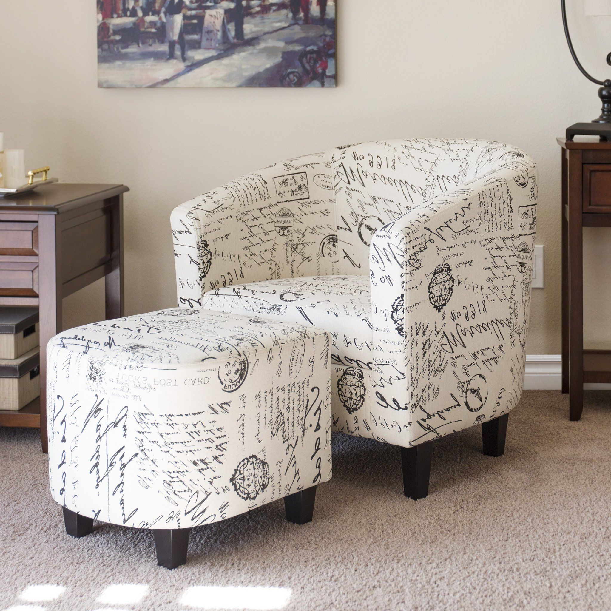 Famous French Print Barrel Accent Chair W/ Ottoman – White – Best Choice Inside Twirl Swivel Accent Chairs (View 4 of 20)