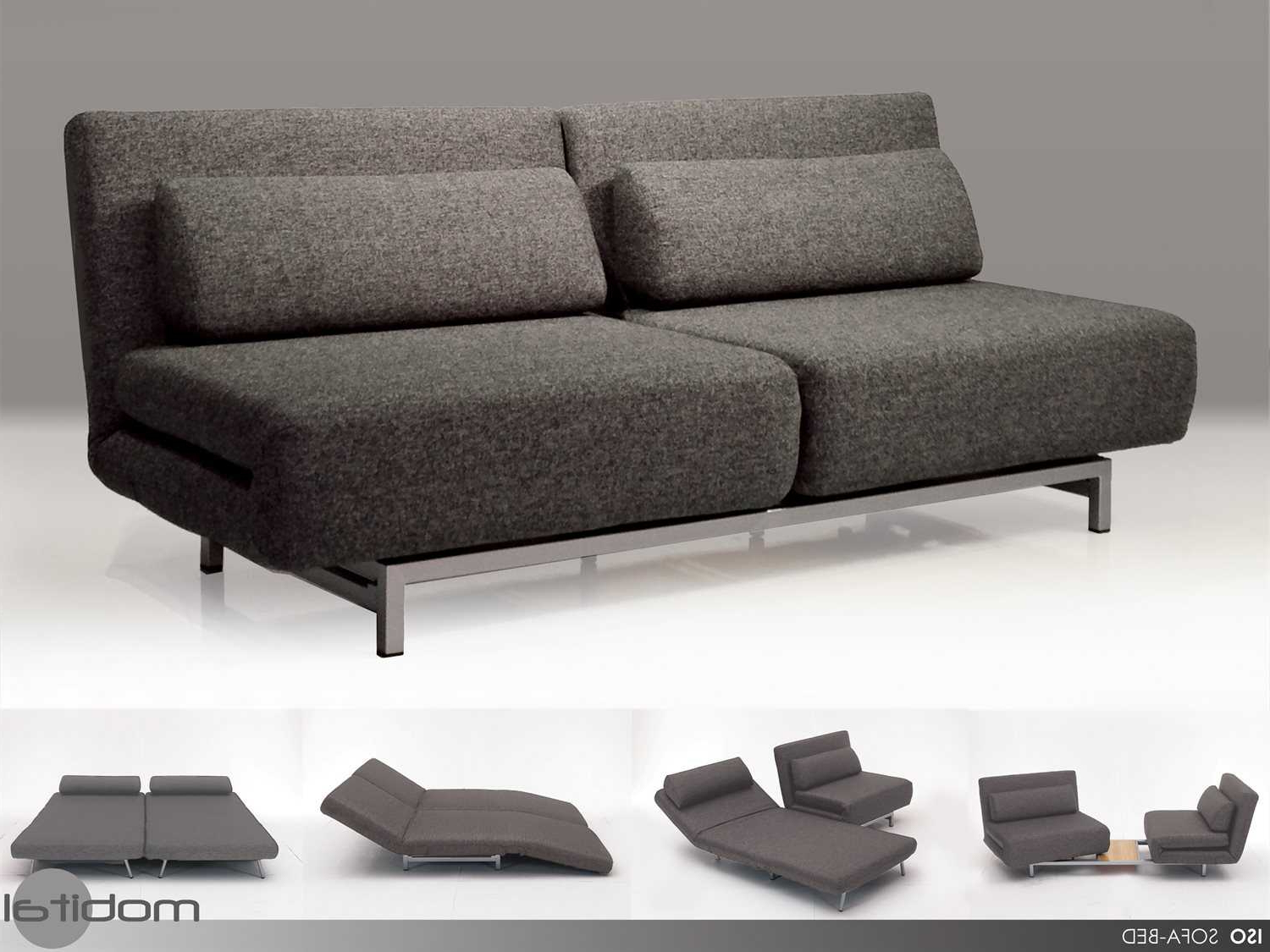 Famous Mobital Iso Charcoal Tweed Double Sofa Bed With 2 Single Swivel Regarding Sofa Beds Chairs (View 7 of 20)