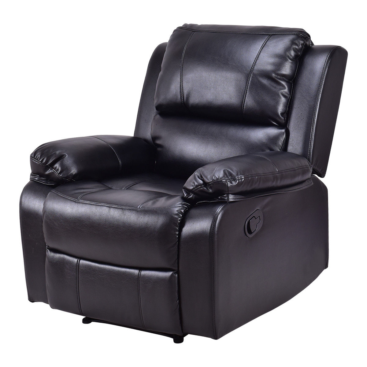 Famous Recliner Sofa Chairs Throughout Costway: Costway Manual Recliner Sofa Lounge Chair Pu Leather Home (View 3 of 20)