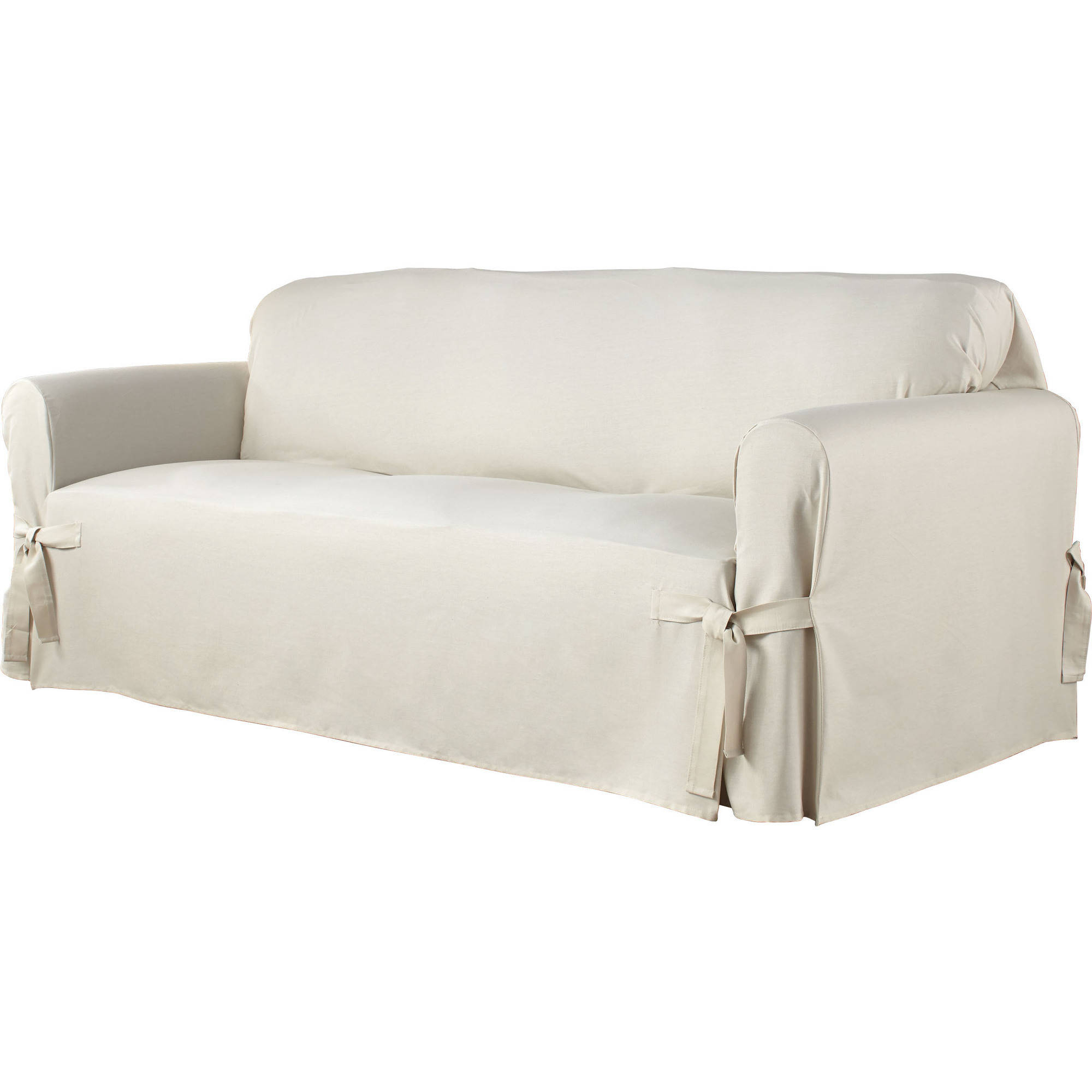 Famous Serta Relaxed Fit Duck Furniture Slipcover, Sofa 1 Piece Box Cushion Pertaining To Slipcovers For Chairs And Sofas (View 7 of 20)