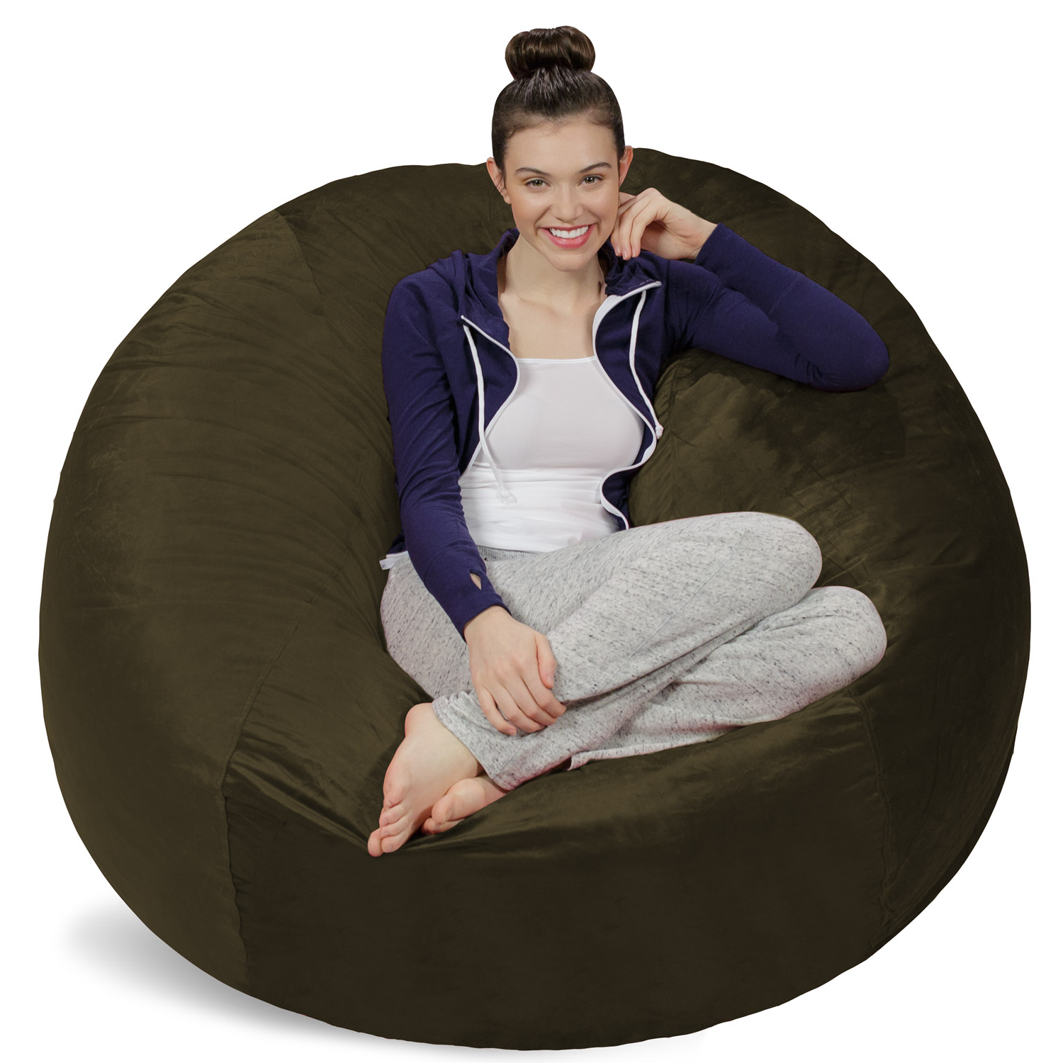Famous Sofa Sack Memory Foam Bean Bag Chair – 5 Ft – Walmart Throughout Bean Bag Sofa Chairs (Gallery 4 of 20)