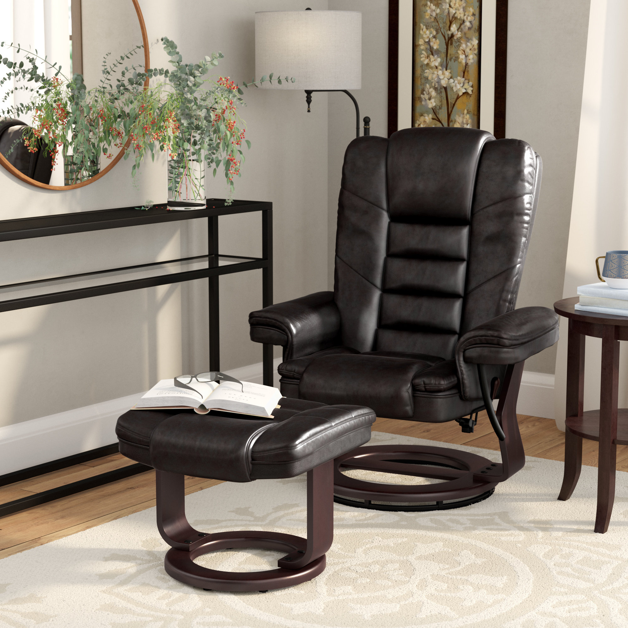 Fashionable Alcott Hill Hammersdale Manual Swivel Recliner With Ottoman Inside Dale Iii Polyurethane Swivel Glider Recliners (View 15 of 20)