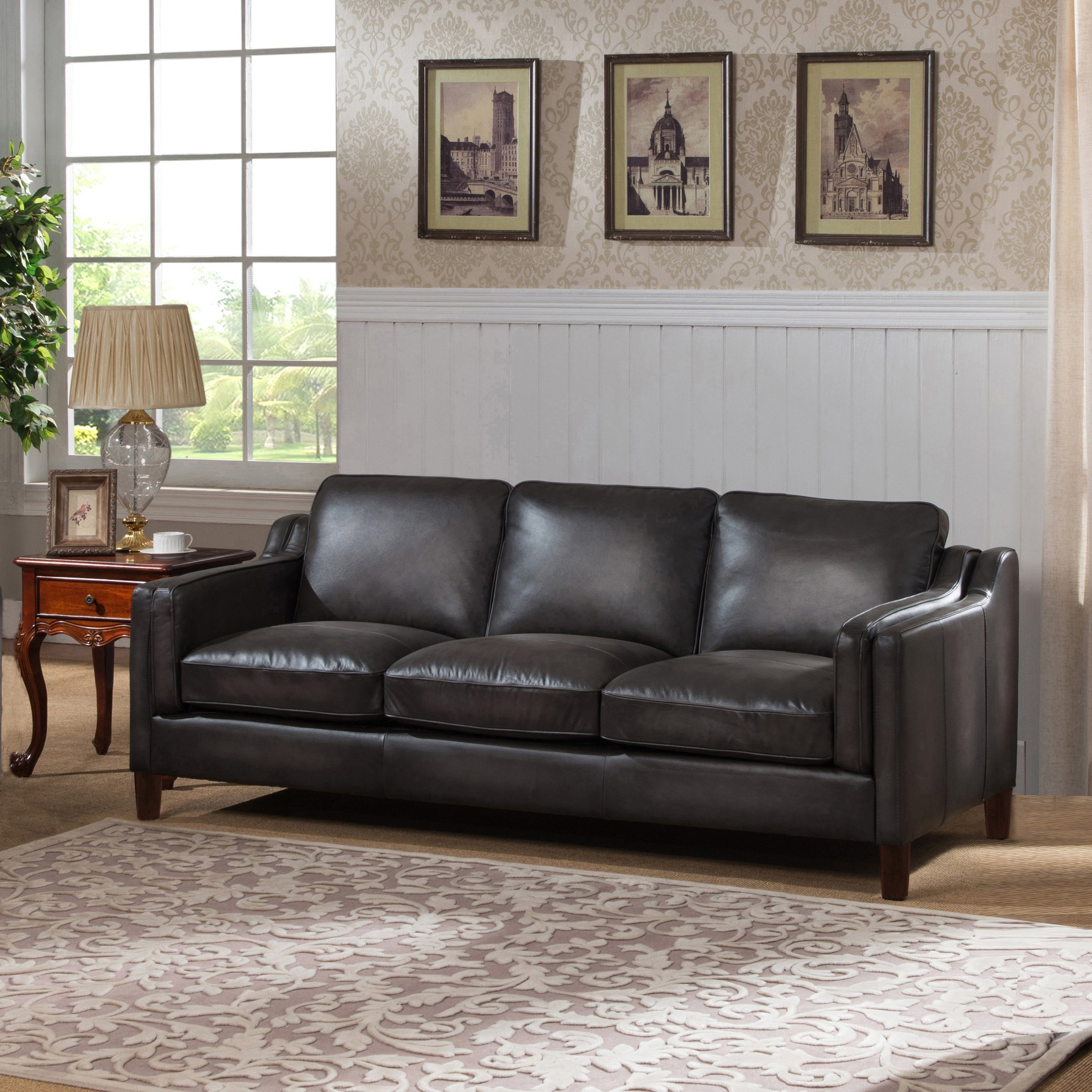 Fashionable Ames Arm Sofa Chairs For Shop Ames Premium Hand Rubbed Grey Top Grain Leather Sofa And Chair (View 11 of 20)