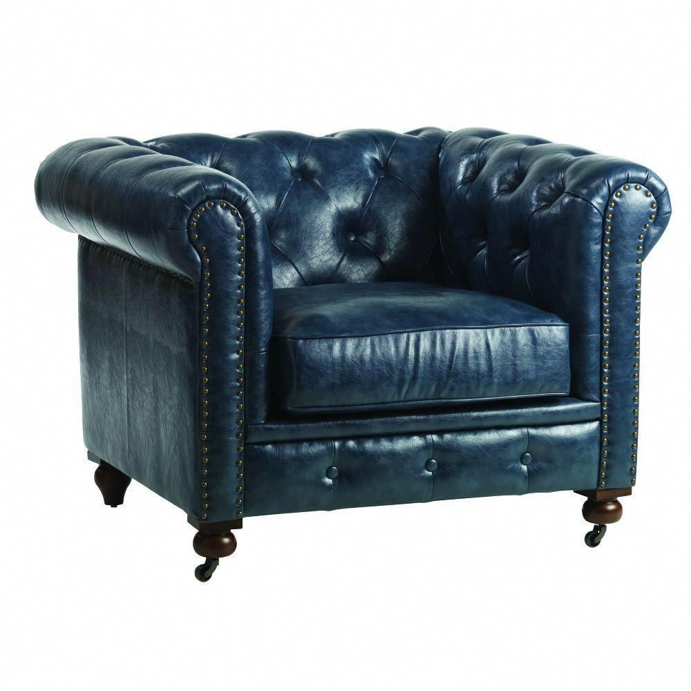Fashionable Home Decorators Collection Gordon Blue Leather Arm Chair 0849600310 Pertaining To Gordon Arm Sofa Chairs (View 6 of 20)