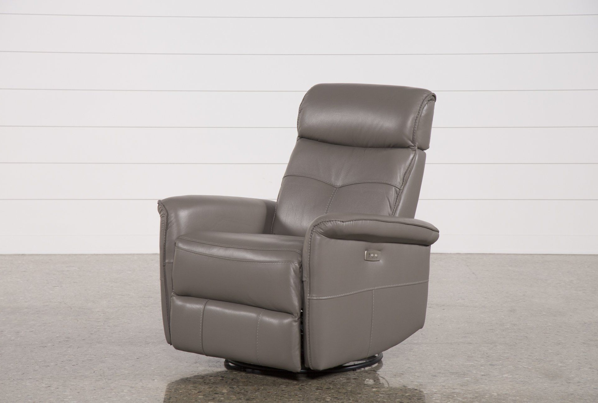 Favorite Dale Iii Polyurethane Swivel Glider Recliners Within Lacey Grey Leather Power Swivel Glider Recliner W/ Adjustable (View 6 of 20)
