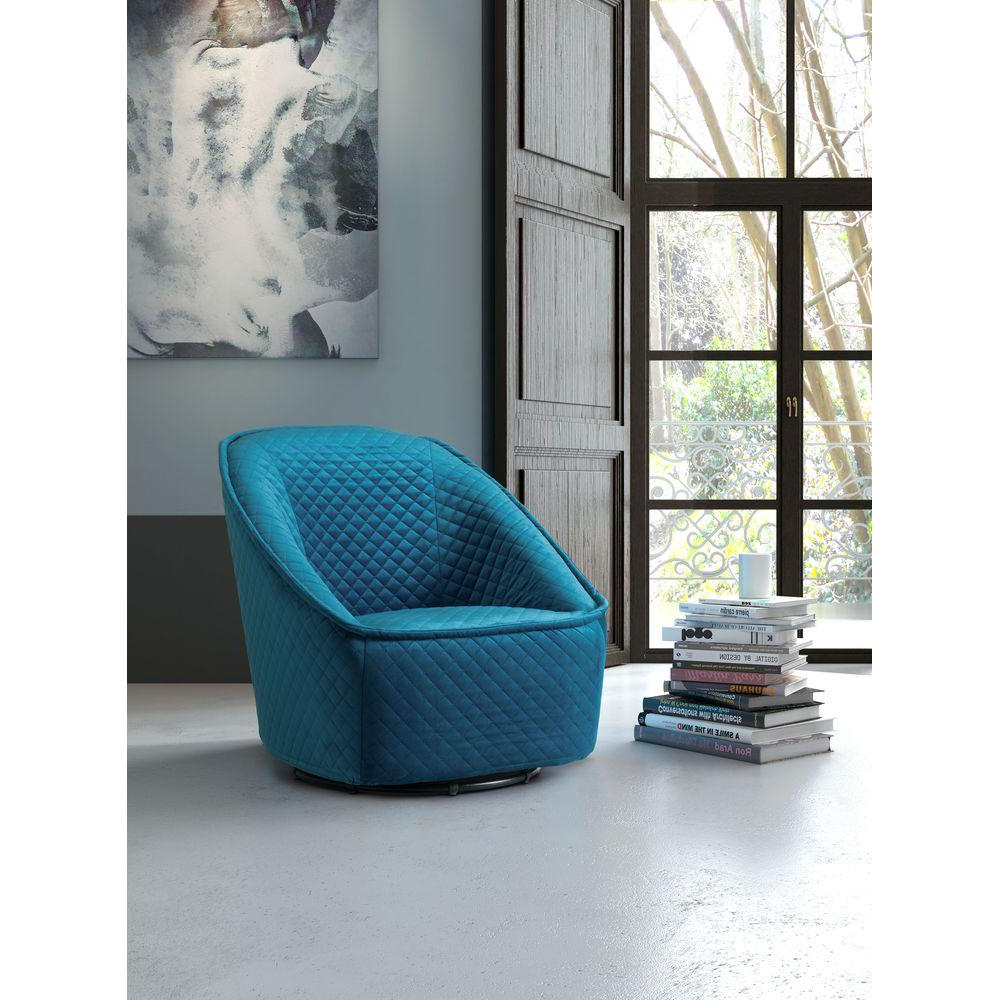 Favorite Loft Black Swivel Accent Chairs With Zuo Pug Quilted Aquamarine Velvet Swivel Arm Chair 100251 – The Home (View 10 of 20)