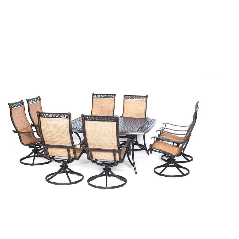 Favorite Manor Grey Swivel Chairs With Regard To Hanover Manor 9 Piece Square Patio Dining Set With Eight Swivel (View 4 of 20)