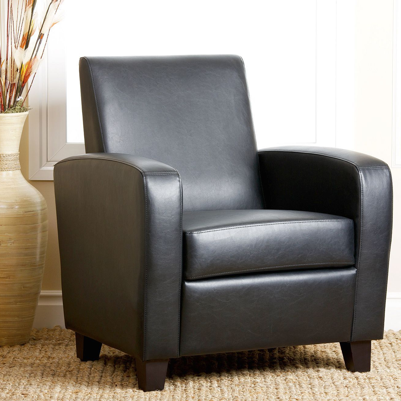 Favorite Mercer Foam Swivel Chairs Throughout Abbyson Living Black Mercer Bonded Leather Club Chair – Overstock (View 10 of 20)