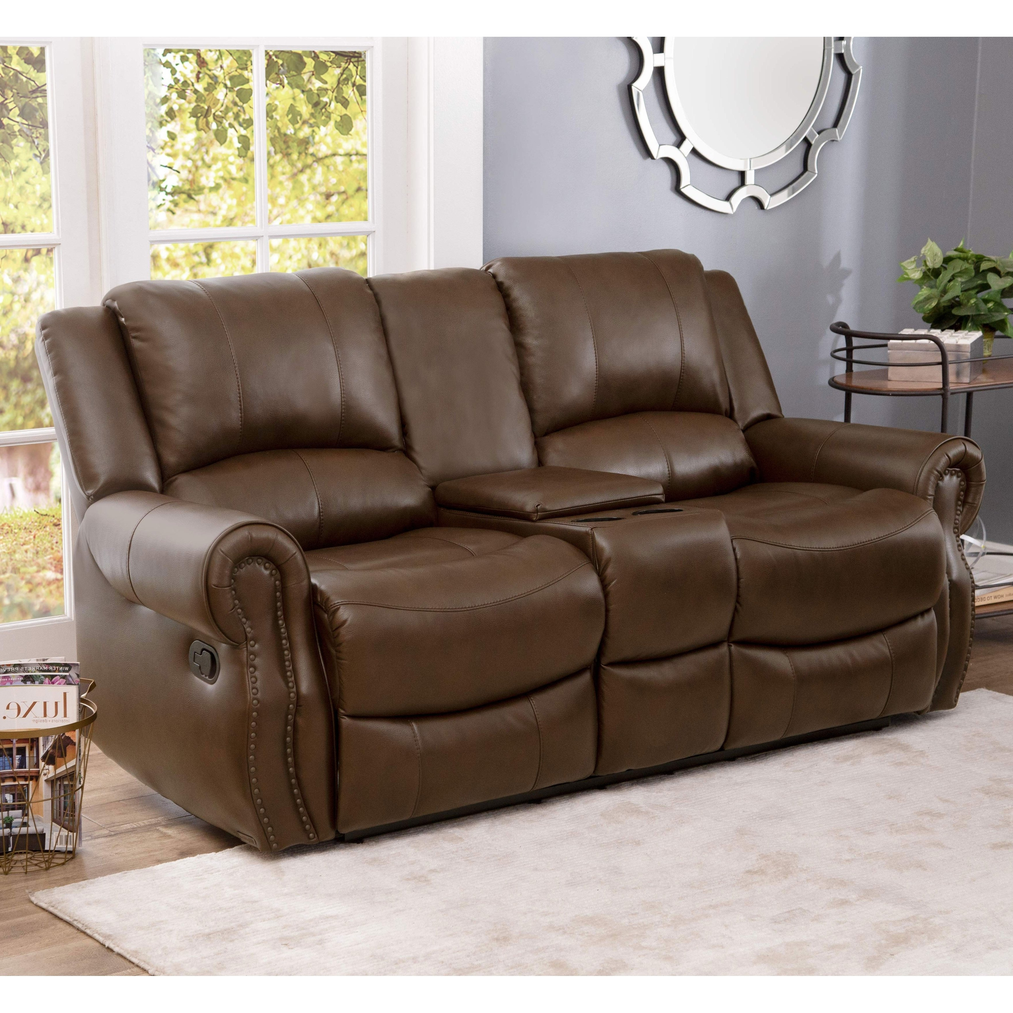 Favorite Mesa Foam Oversized Sofa Chairs With Regard To Shop Abbyson Calabasas Mesa Brown Leather Reclining Console Loveseat (View 4 of 20)
