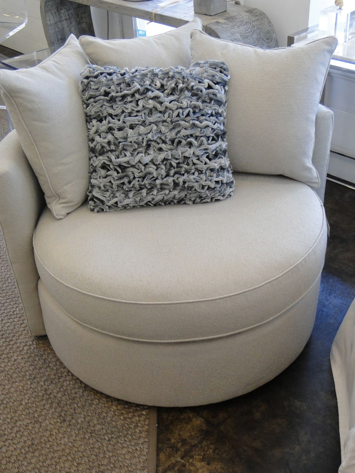 Favorite Mitchell Arm Sofa Chairs Inside Mitchell Gold Jeanette Round Swivel Chair In Ayers – Dove ( (View 8 of 20)