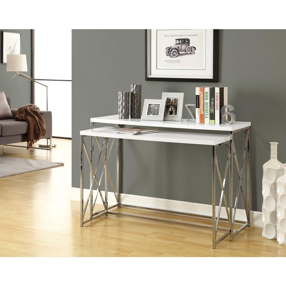 Favorite Monarch Specialties Glossy White 2 Piece Nesting Console Table I For Sofa Table Chairs (View 6 of 20)