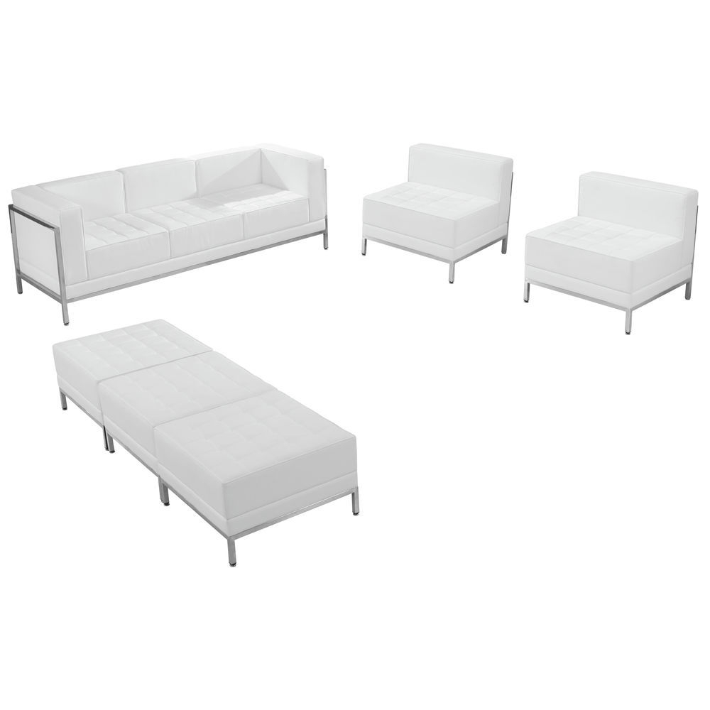 Flash Furniture Hercules Imagination Series Melrose White Leather Inside Widely Used Sofa Chair And Ottoman (View 19 of 20)