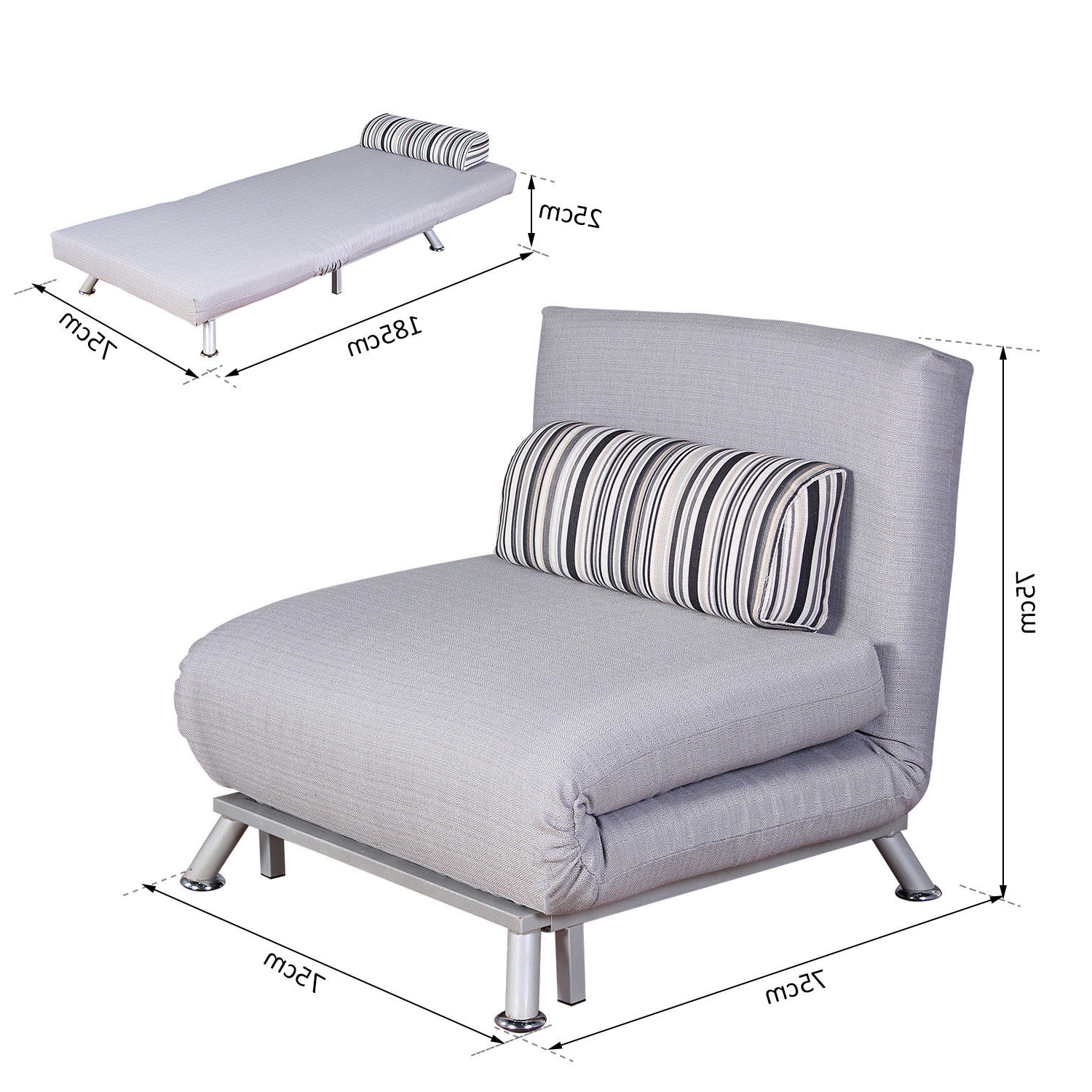 Folding Recliner Chair, Single Sofa Bed Lounger With Pillow (grey Regarding Most Current Cheap Single Sofa Bed Chairs (View 17 of 20)