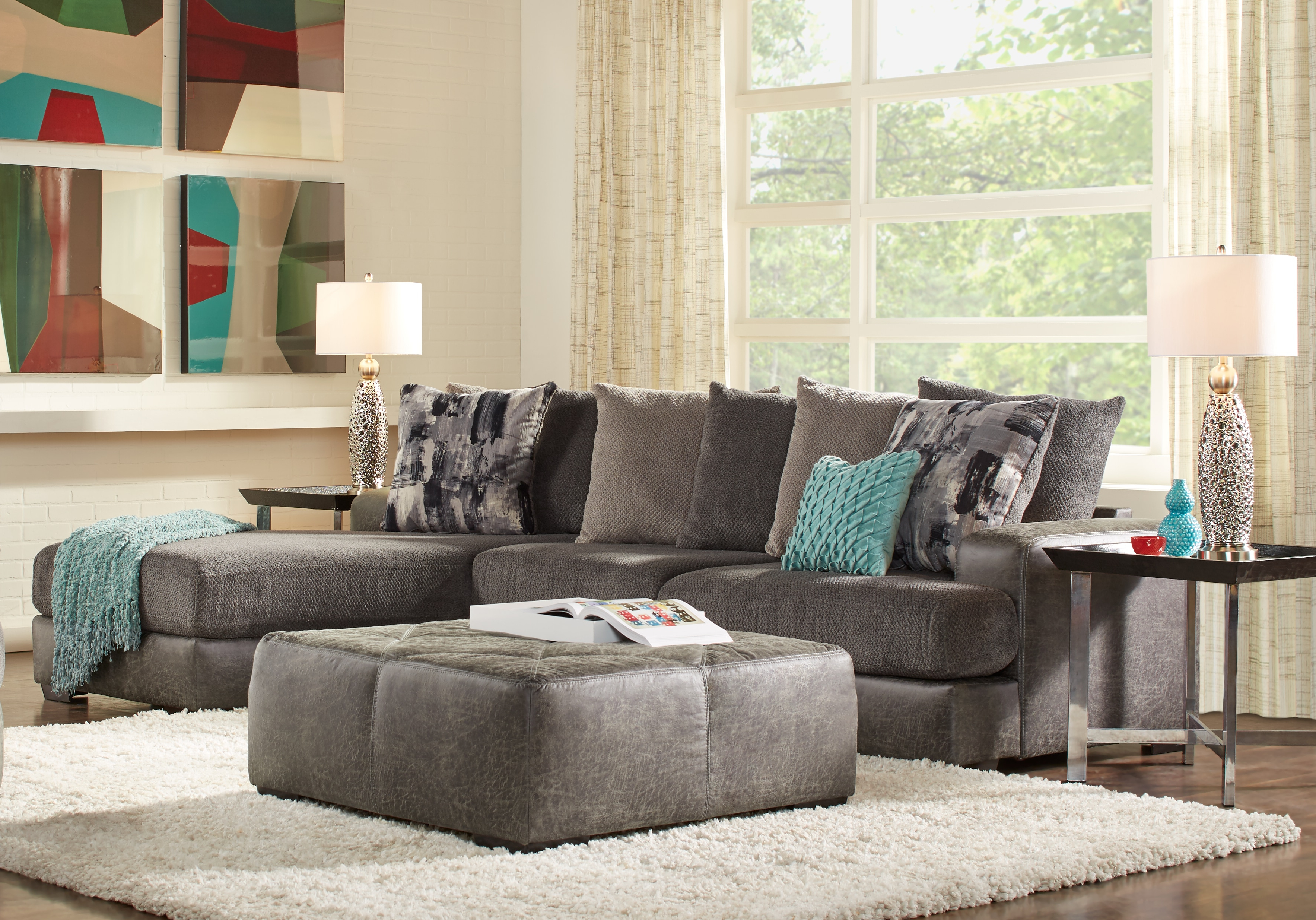 Foster Square Graphite 2 Pc Sectional – Living Room Sets (Gray) Within Newest Mcdade Graphite Sofa Chairs (View 4 of 20)