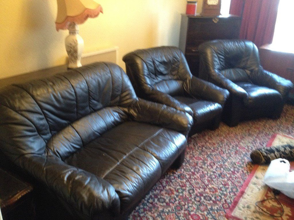 Free***black Leather Sofa & 2 Arm Chairs (View 7 of 20)