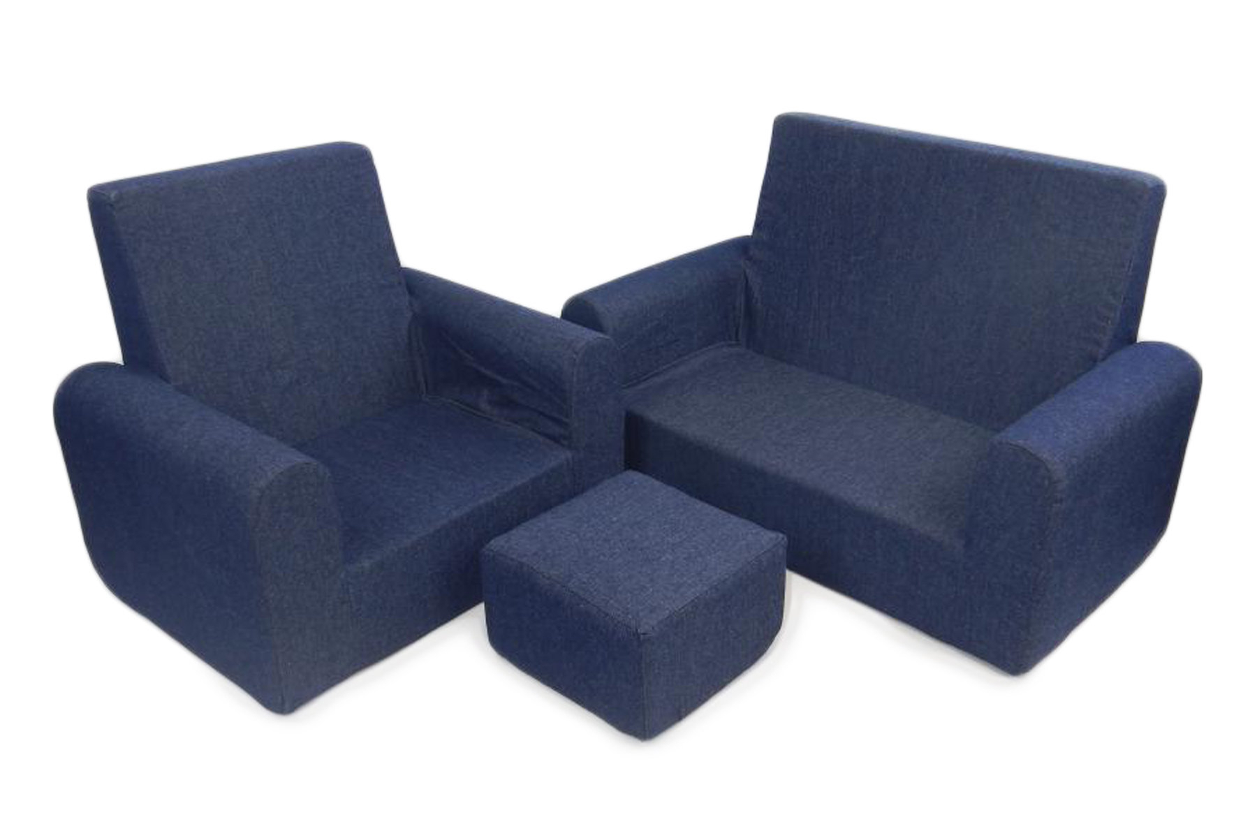 Fun Furnishings 3 Piece Kids Sofa Chair And Ottoman Set & Reviews Pertaining To Famous Sofa Chair And Ottoman (View 20 of 20)
