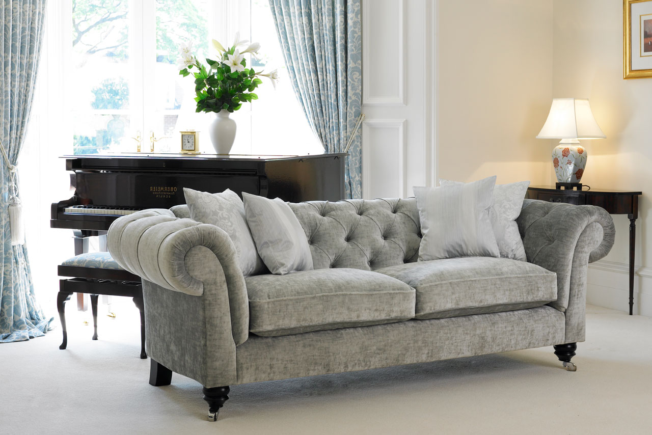 Furniture Fabric Chesterfield Sofas Interesting Remarkable Grey Sofa Throughout Most Recently Released Chesterfield Sofa And Chairs (View 18 of 20)