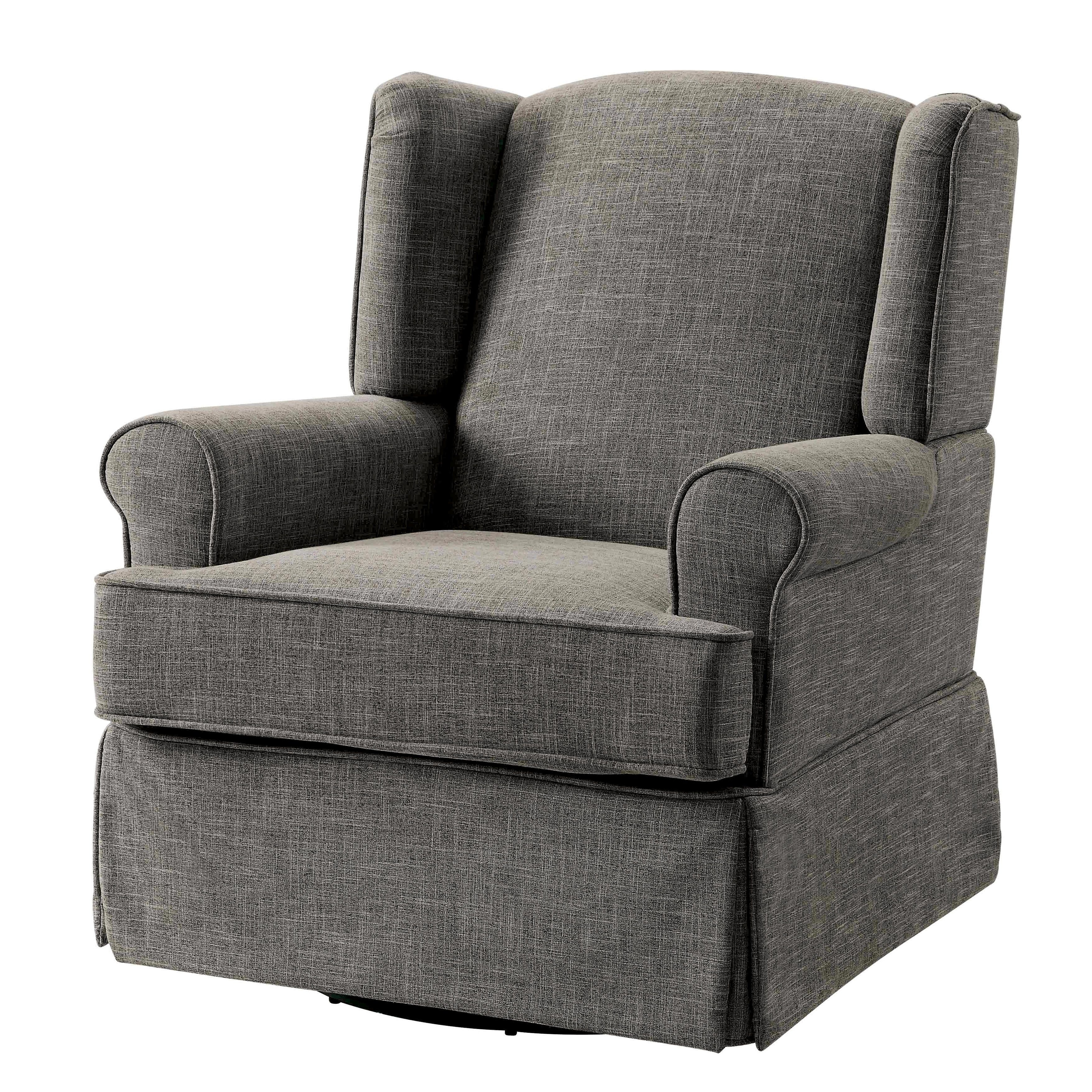 Furniture Of America Tuleran Transitional Wingback Glider Rocker Regarding Most Current Bailey Linen Flare Arm Wing Skirted Swivel Gliders (View 6 of 9)