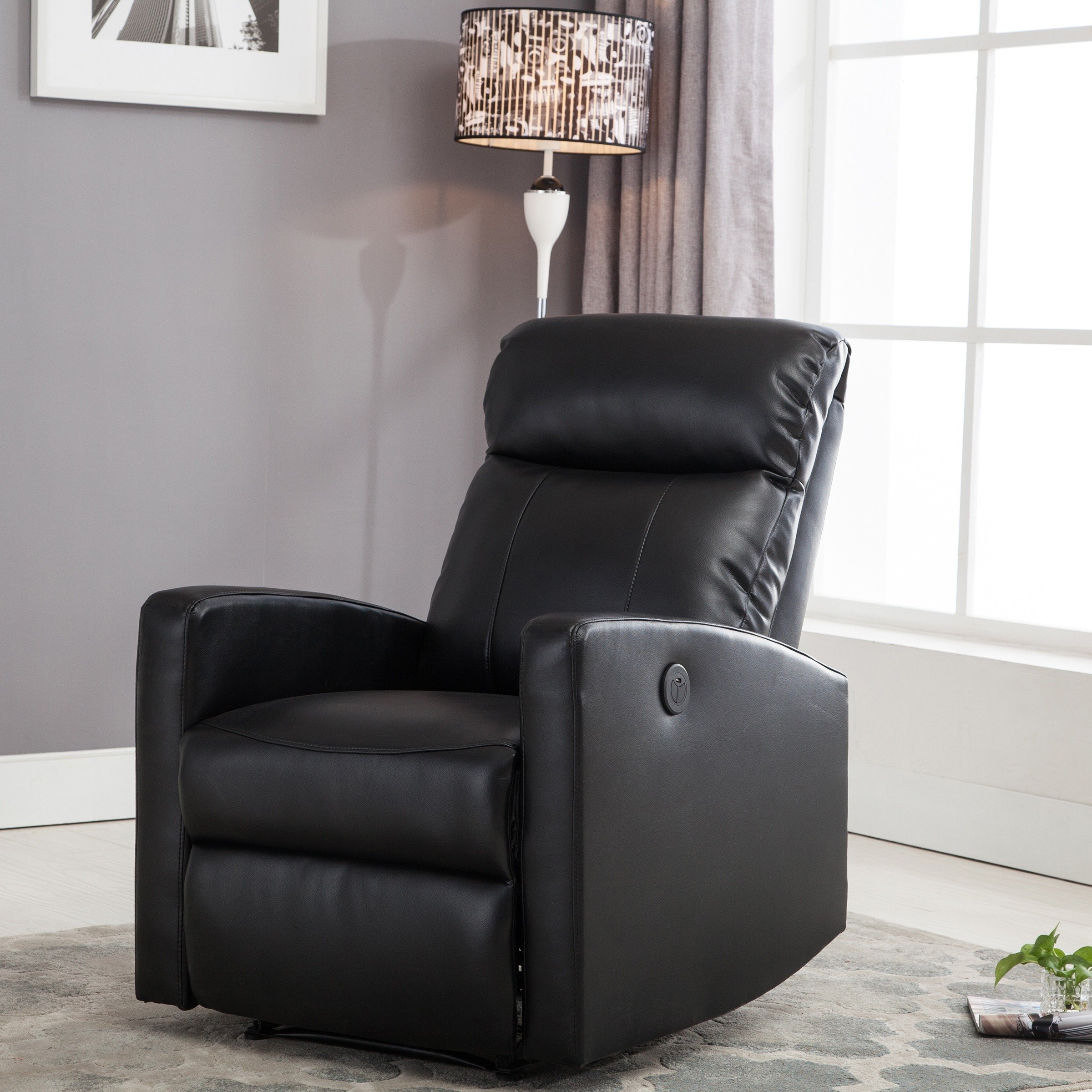 Gannon Linen Power Swivel Recliners With Most Popular Shop Sean Black Small Reading Power Recliner – Free Shipping Today (View 11 of 20)