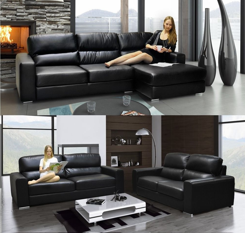 Gibson Sofa Corner Sofa 3 Seater & 2 Seater Sofa Fabric Leather Brown Or  Black (Gallery 13 of 20)
