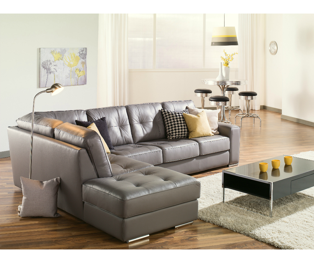 Gina Grey Leather Sofa Chairs With Regard To Newest Artem Sofa 902511 Rs Grey Leather Sectional Need Lhf (Gallery 13 of 20)
