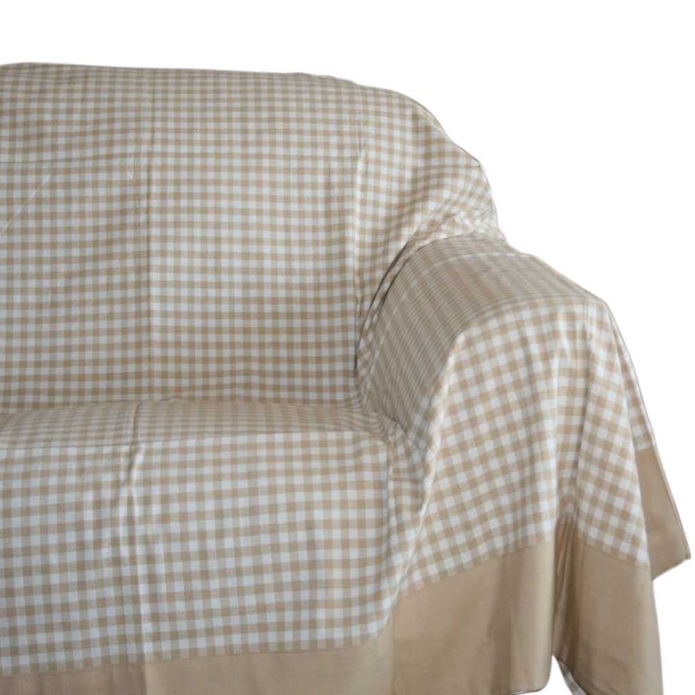 Gingham Check Extra Large Cotton Sofa Throw Bed Covers Settee Throws With Regard To Trendy Cotton Throws For Sofas And Chairs (View 11 of 20)