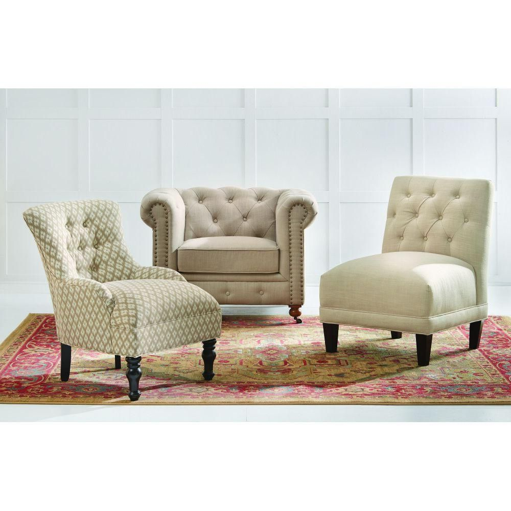 Gordon Arm Sofa Chairs Pertaining To Popular Home Decorators Collection Gordon Natural Linen Arm Chair (View 3 of 20)