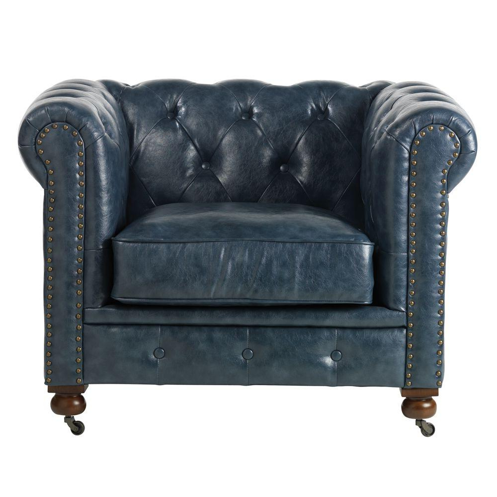Gordon Arm Sofa Chairs With Most Recent Home Decorators Collection Gordon Blue Leather Arm Chair  (View 5 of 20)