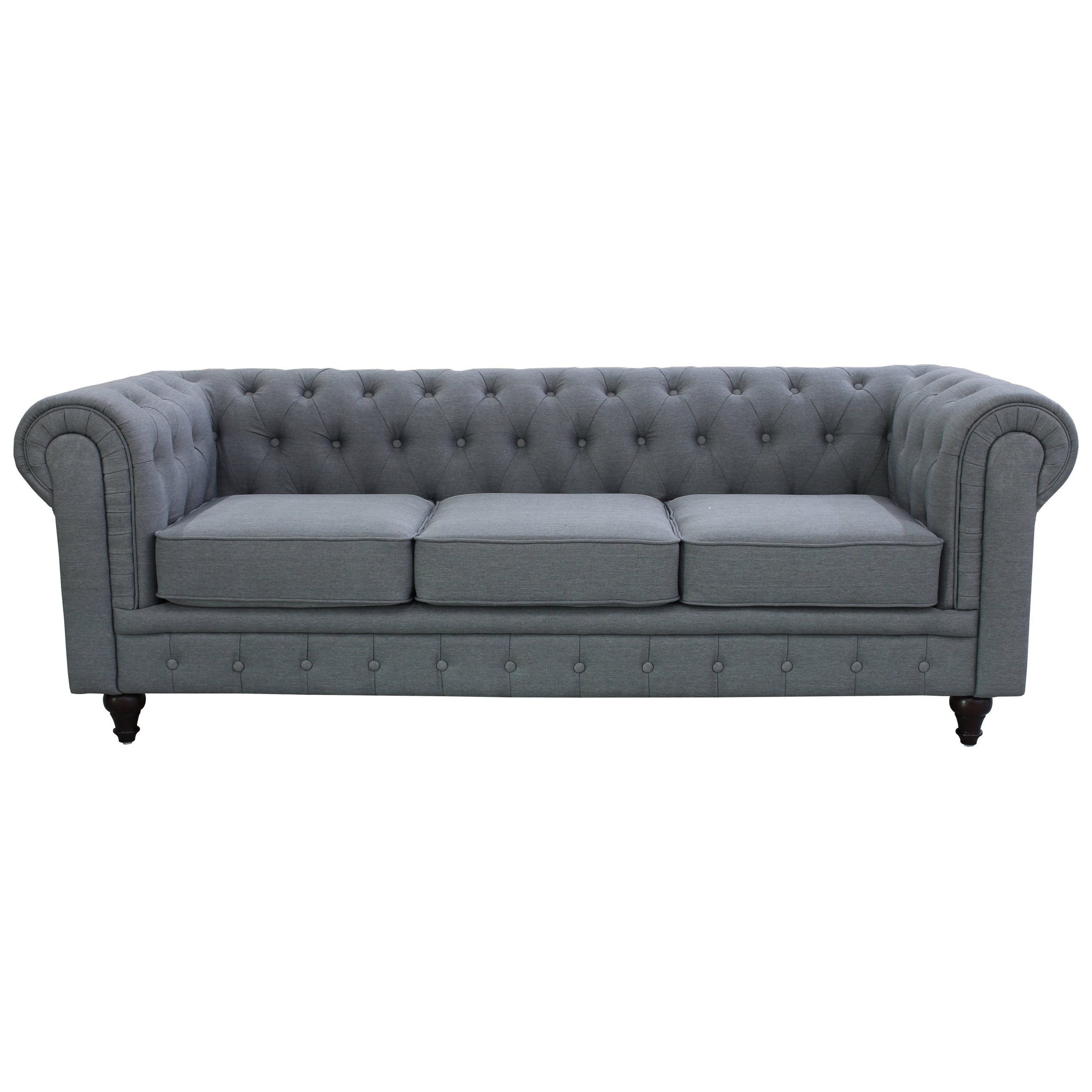 Grace Sofa Chairs In Current Shop Grace Grey Linen Fabric Chesterfield Sofa – Free Shipping Today (View 7 of 20)