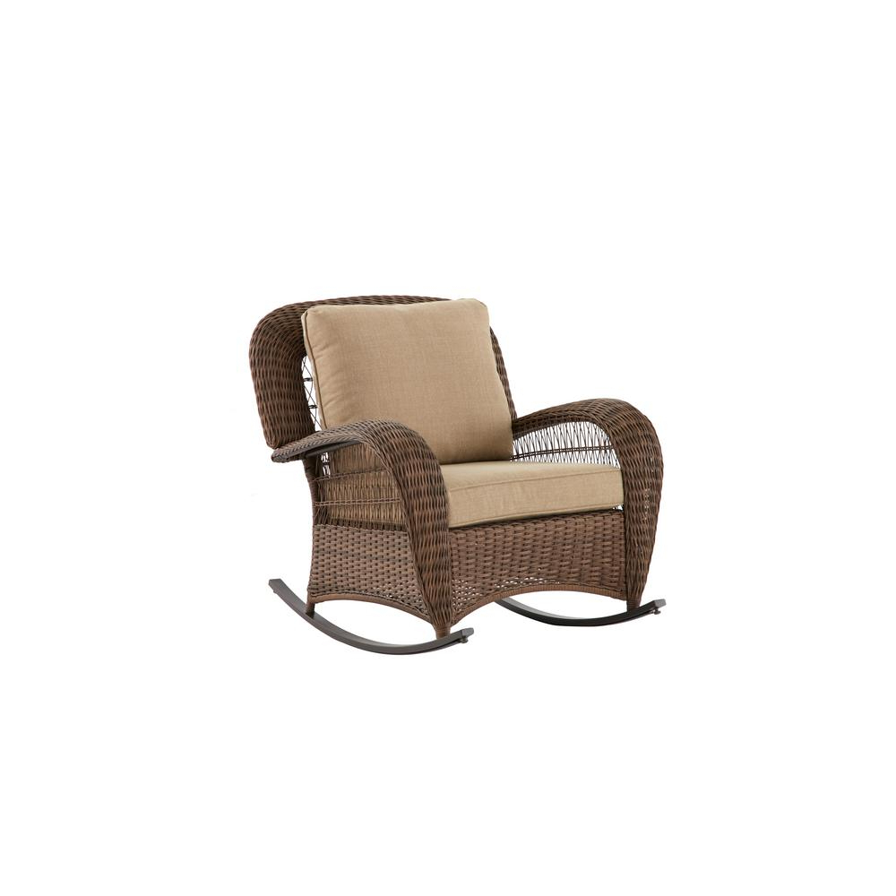 Hampton Bay Beacon Park Wicker Outdoor Rocking Chair With Toffee Regarding 2018 Katrina Beige Swivel Glider Chairs (Gallery 15 of 20)