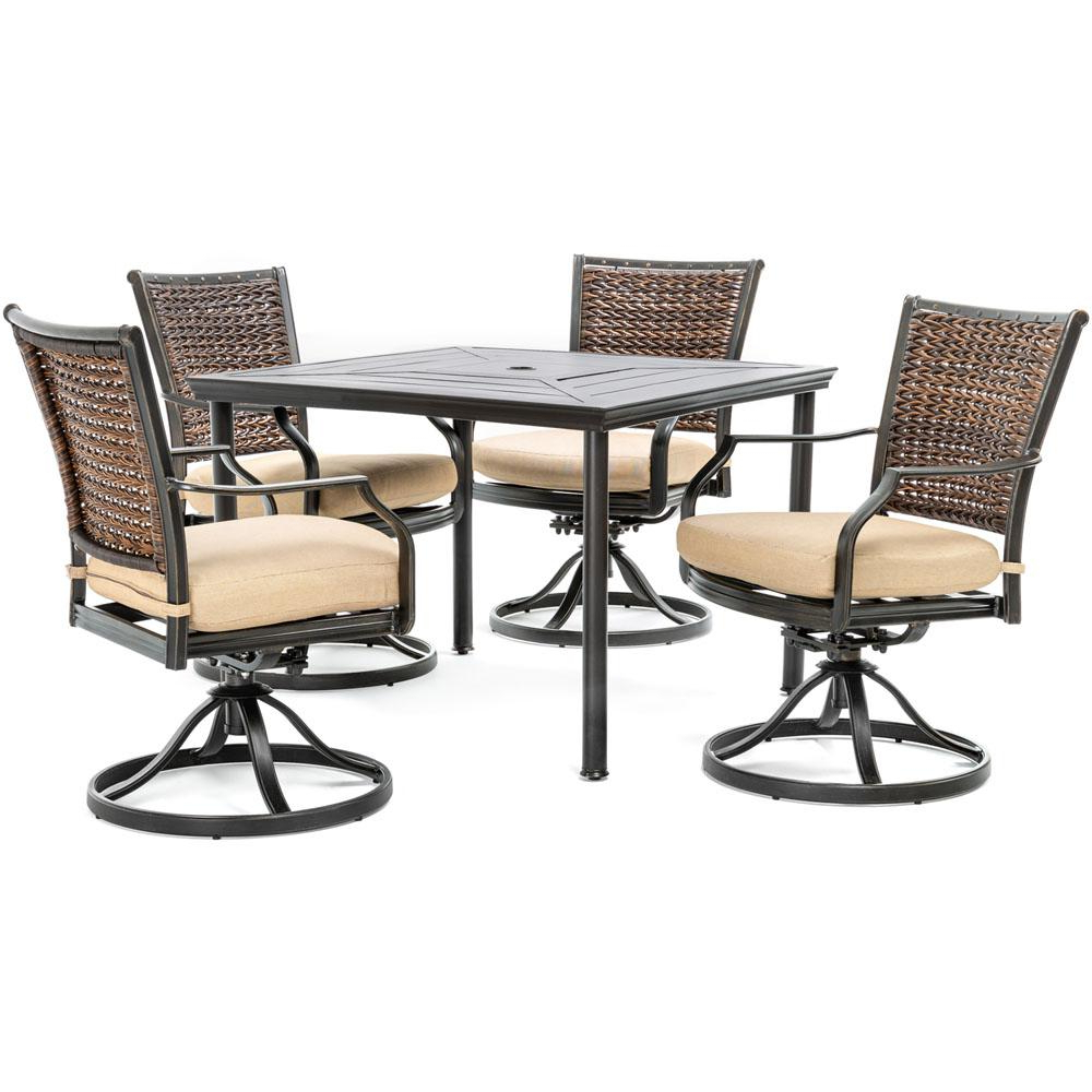 Hanover Mercer 5 Piece Aluminum Outdoor Dining Set With Country Cork Regarding Most Recently Released Mercer Foam Swivel Chairs (View 12 of 20)