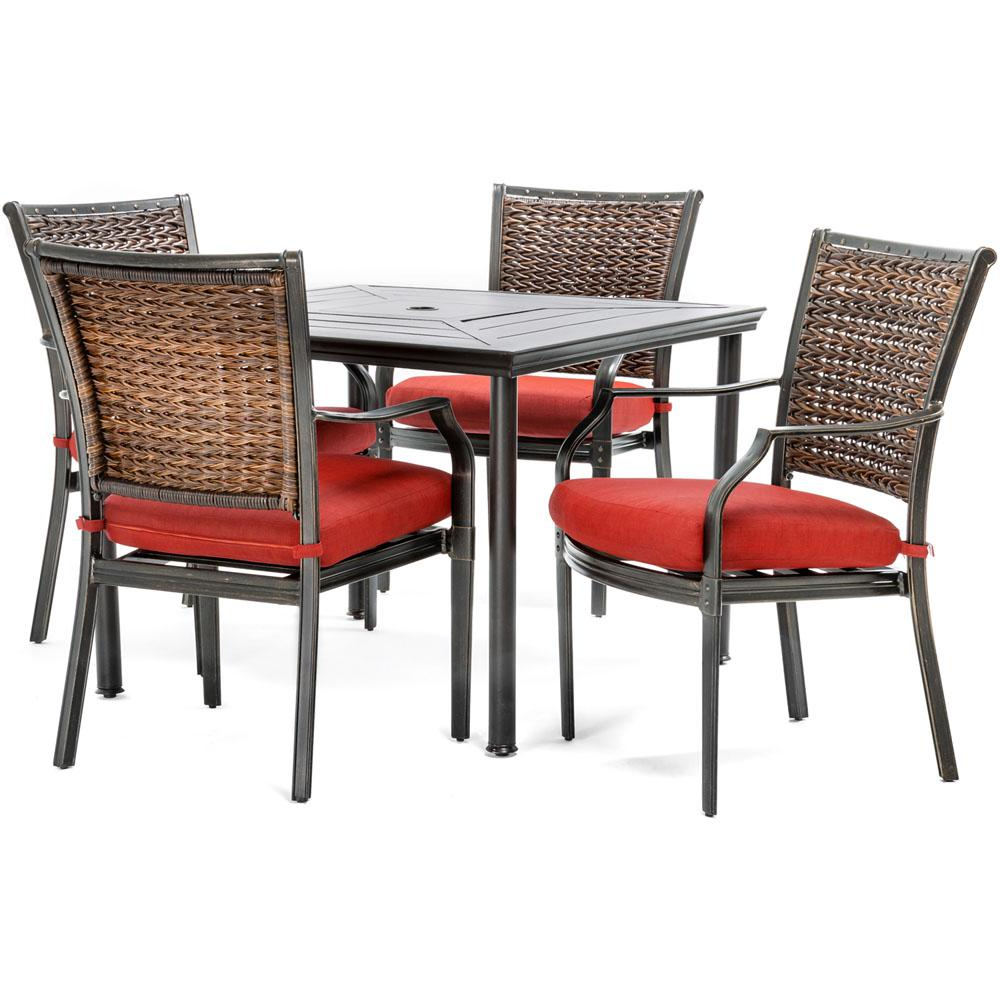 Hanover Mercer 5 Piece Aluminum Outdoor Dining Set With Crimson Red In Well Liked Mercer Foam Swivel Chairs (View 6 of 20)