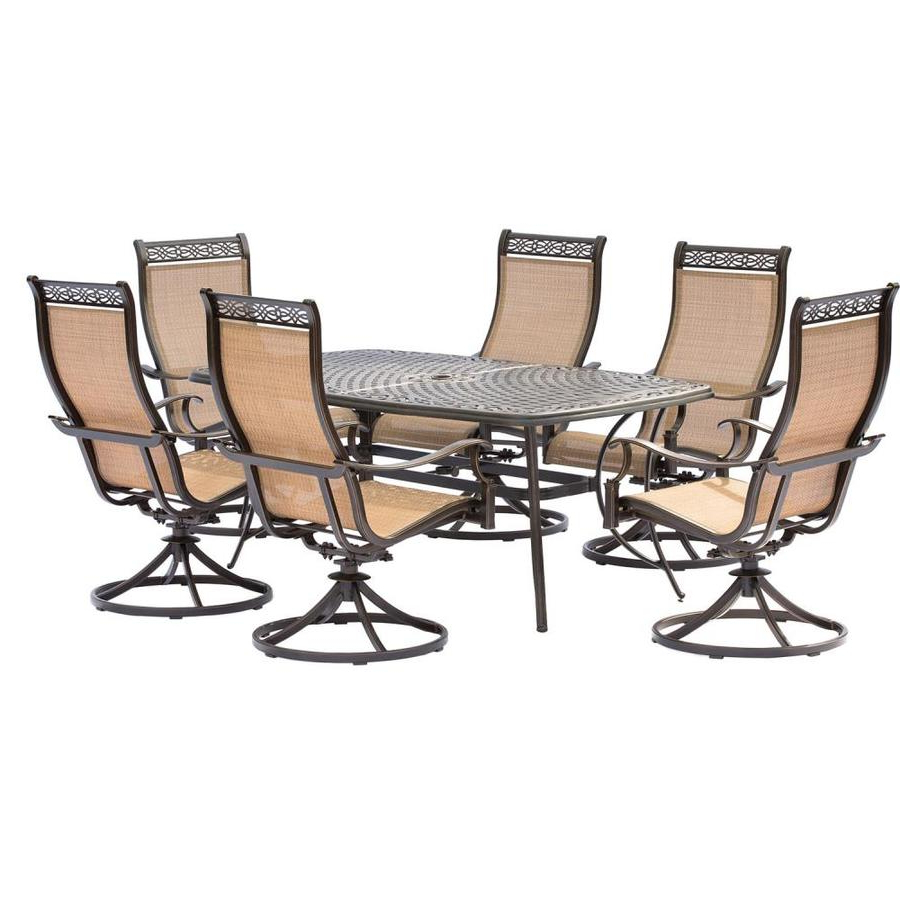 Hanover Outdoor Furniture Manor 7 Piece Bronze Metal Frame Patio Set With Latest Manor Grey Swivel Chairs (View 6 of 20)