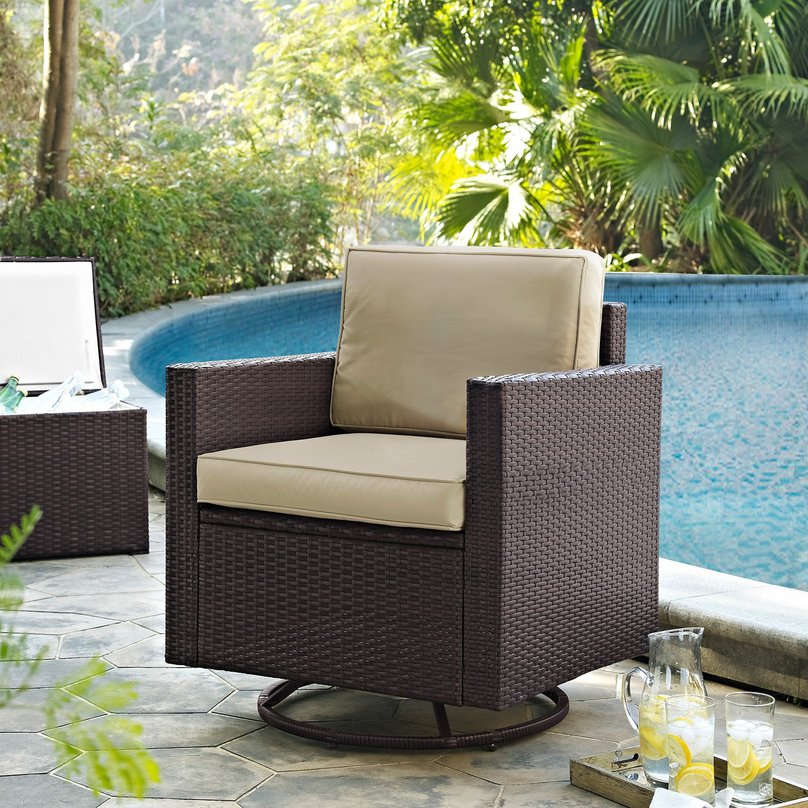 Harbor Grey Swivel Accent Chairs Pertaining To Fashionable Crosley Palm Harbor Outdoor Wicker Swivel Rocker Chair – Walmart (Gallery 17 of 20)