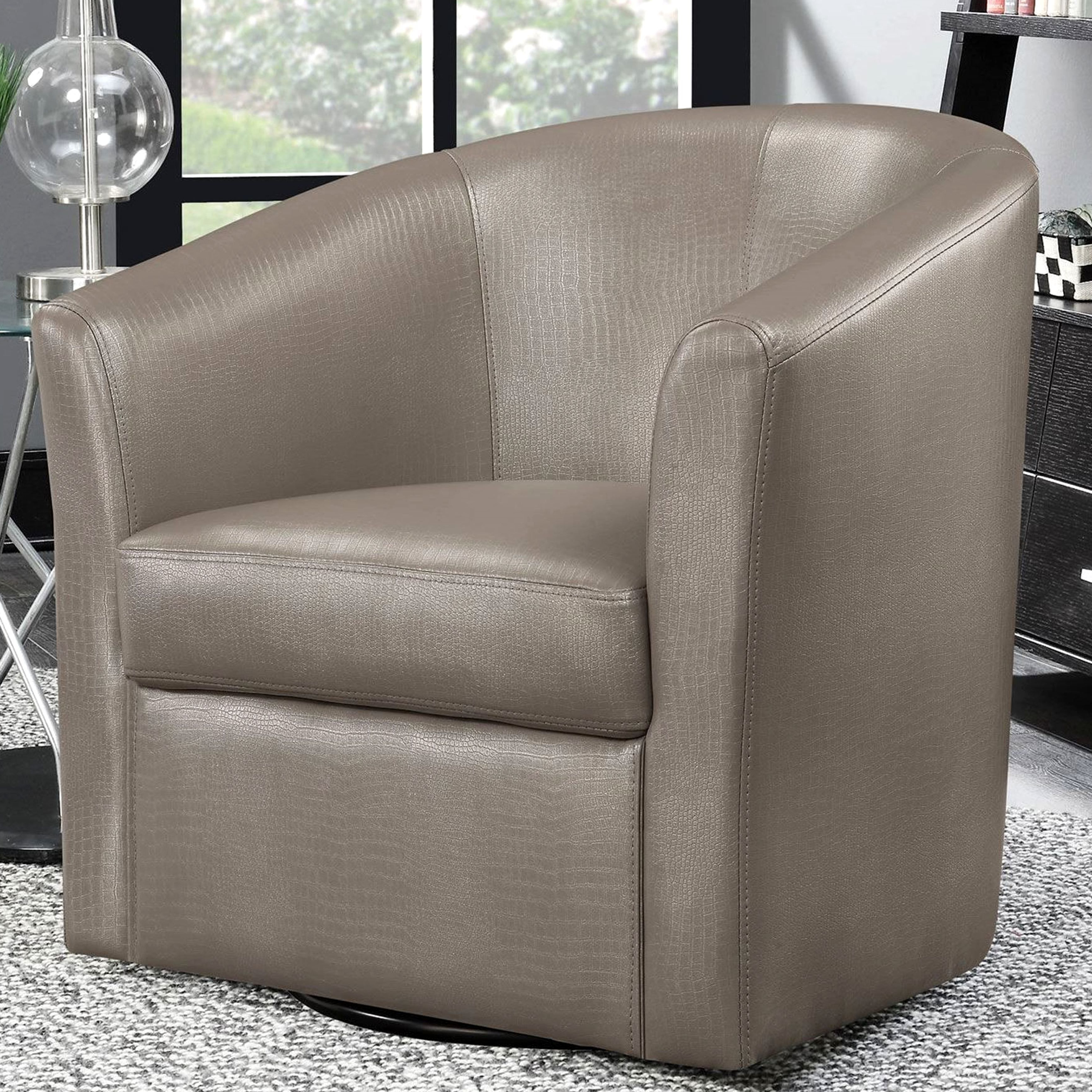 Harbor Grey Swivel Accent Chairs Throughout Well Liked Contemporary Living Room Swivel Barrel Style Accent Chair (champagne (View 3 of 20)
