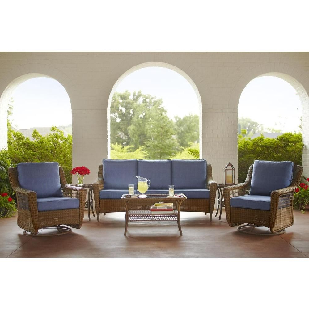 Haven Sofa Chairs With Well Known Hampton Bay Spring Haven Brown All Weather Wicker Outdoor Patio Sofa (View 9 of 20)