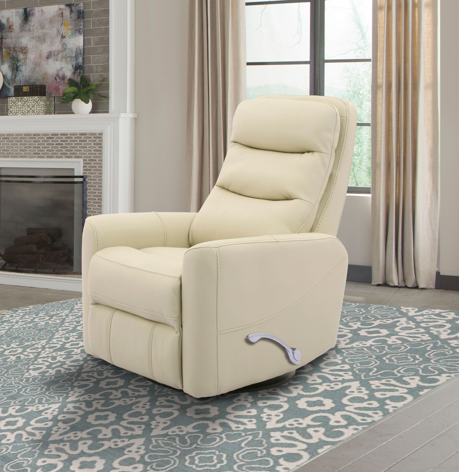 Hercules  Oyster  Swivel Glider Recliner With Articulating Headrest In Most Current Hercules Chocolate Swivel Glider Recliners (View 6 of 20)